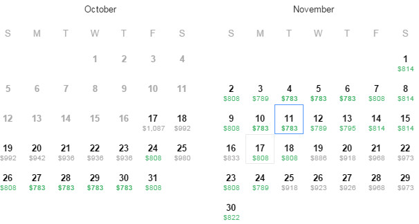 Flight Availability as of 8:37PM on 10/17/2014