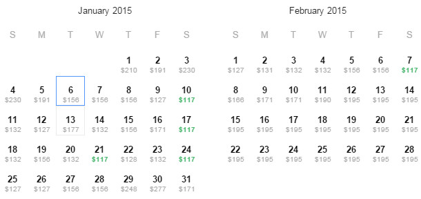 Flight Availability: Dallas to Phoenix as of 11:30PM on 11/19/14.