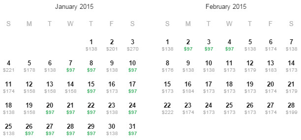 Flight Availability: Dallas to Philadelphia as of 8:30 AM on 11/26/14