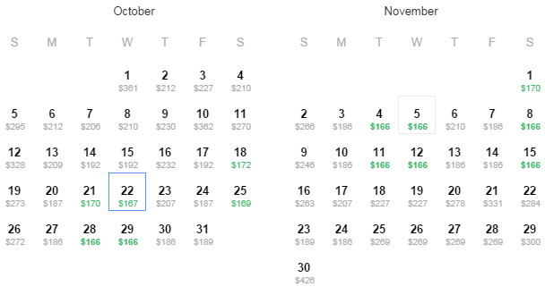 Flight Availability as of 3:19PM on 9/25/14