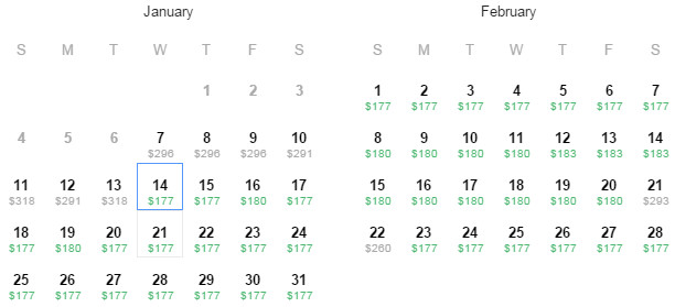 Flight Availability: Dallas to Boston as of 2:54 PM on 1/7/2015