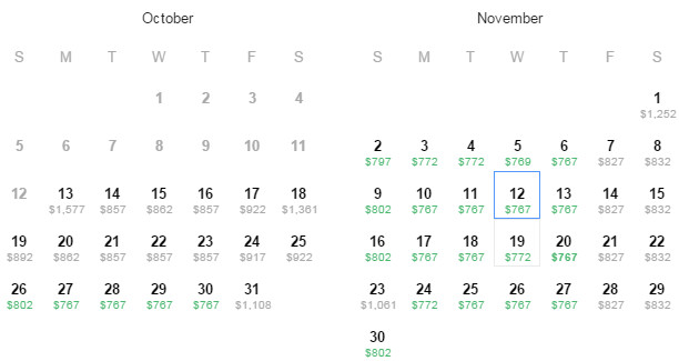 Flight Availability: Dallas to London as of 4:13PM on 10/13/14