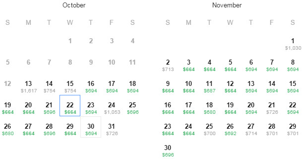 Flight Availability: Dallas (DFW) to Madrid (MAD) as of 3:31 PM on 10/13/14.