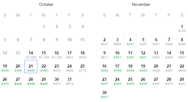 Flight Availability: Dallas to St.Petersburg as of 12:05PM on 10/14/2014