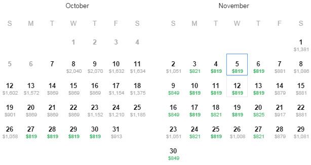 Flight Availability as of 2:31am 10/8/14