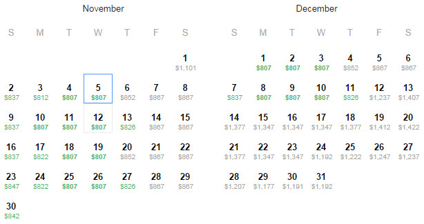 Flight Availability as of 2:08AM on 10/8/14