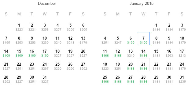 Flight Availability: Dallas to Las Vegas as of 1:06AM on 11/22/14.
