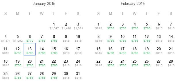 Flight Availability: Dallas to Osaka as of 5:07 PM on 12/04/14.