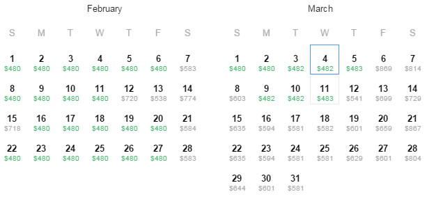 Flight Availability: Dallas to Honolulu as of 3:31 AM on 01/30/2015.