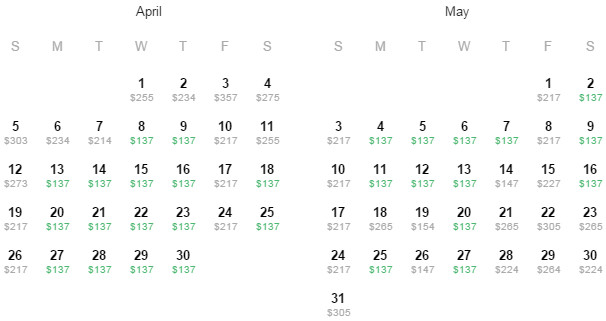 Flight Availability: Dallas to Indianapolis as of 12:15 PM on 02/14/2015.
