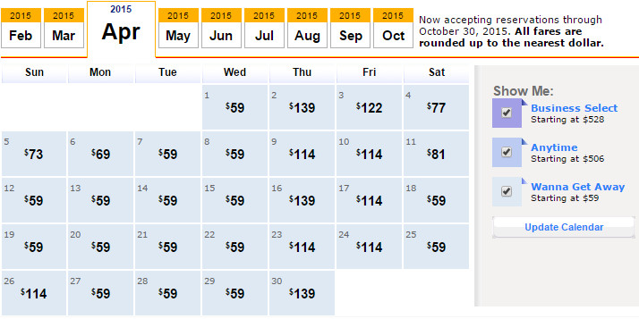 Flight Availability: Dallas to Las Vegas as of 7:15 PM on 2/20/2015.