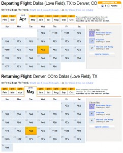 Flight Availability: Dallas to Denver as of 2:04 PM on 2/23/2015 (Southwest) [IMAGE LINK]