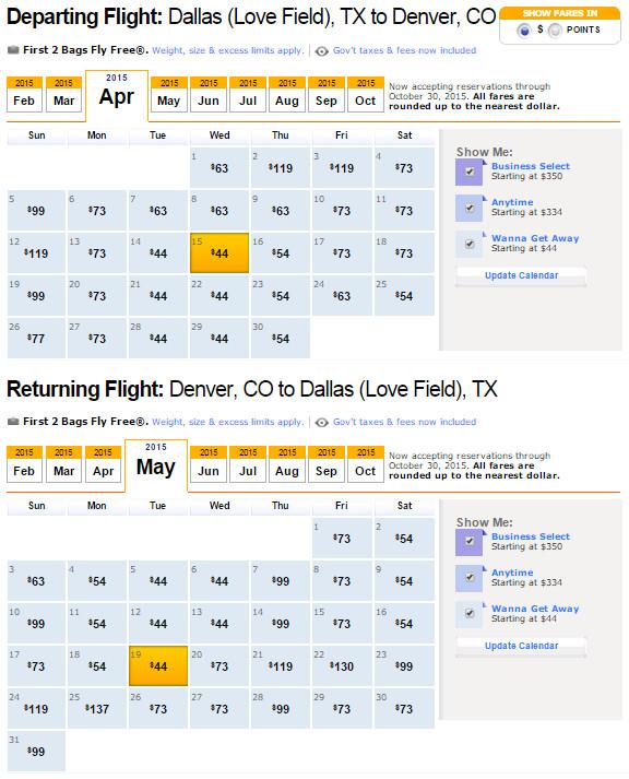 Flights Dallas To Denver 88 115 Nonstop R T Southwest American Airlines