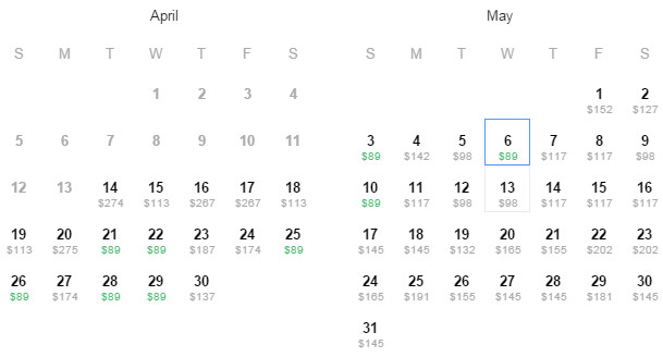 Flight Availability: Dallas to Denver as of 1:30 PM on 4/14/2015.