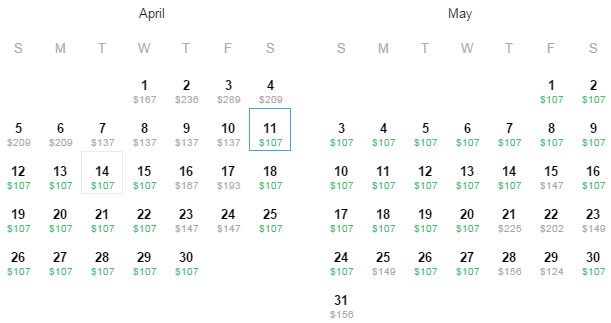 Flight Availability: Dallas to Miami as of 1:10 PM on 3/28/2015.