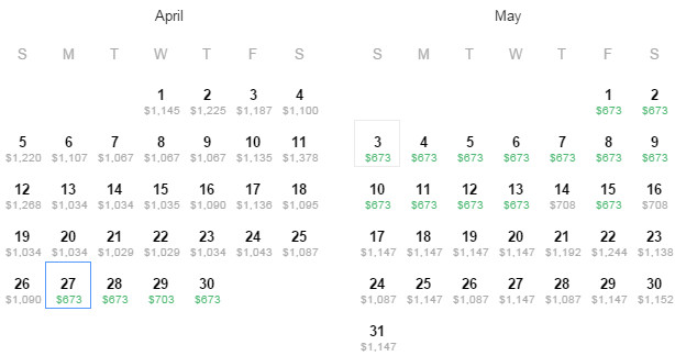Flight Availability: Dallas to London as of 4:32 on 3/30/2015