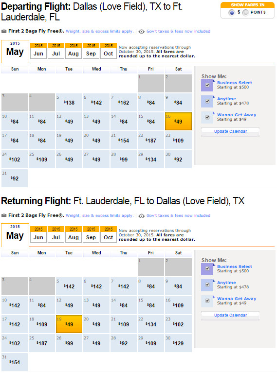 Flight Availability: Dallas to Fort Lauderdale as of 9:41 AM on 5/5/2015.