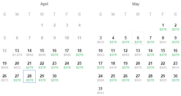 Flight Availability: Dallas to Bogota as of 2:15 PM on 4/13/2015.