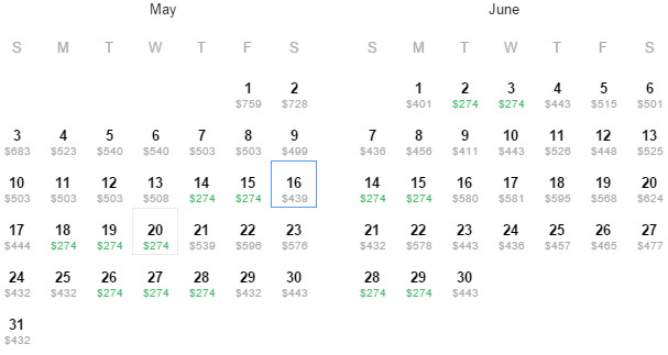 Flight Availability: Dallas to Saint Thomas as of 4:08 PM on 4/30/2015.