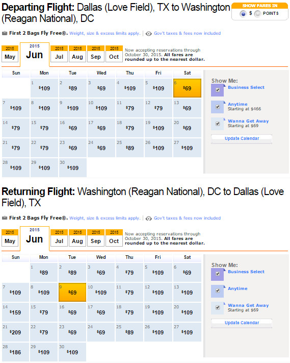 Flight Availability: Dallas to Washington, DC as of 7:15 PM on 5/13/2015.