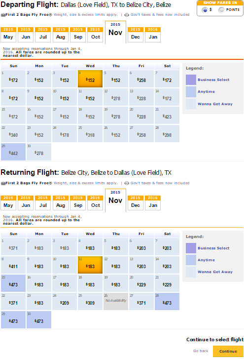 Flight Availability: Dallas to Belize as of 5:18 PM on 5/15/15.