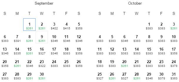 Flight Availability: Dallas to San Juan, Puerto Rico as of 6:41 PM on 5/27/15.