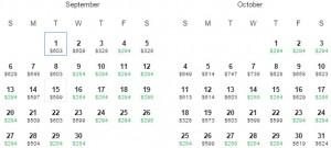 Flight Availability: Dallas to Liberia, Costa Rica as of 9:33 on 5/27/15