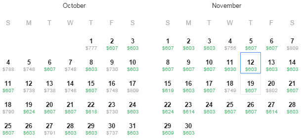 Flight Availability: Dallas to Rio as of 11:54 AM on 7/16/15.