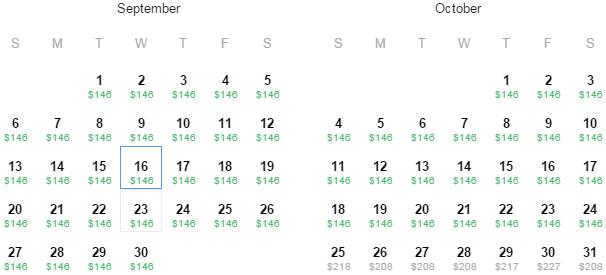 Flight Availability: Dallas to Sacramento as of 10:19 AM on 7/16/15.