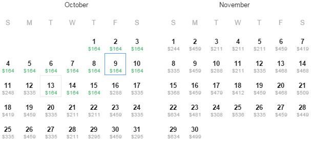 Flight Availability: Dallas to Philadelphia as of 9:11 PM on 7/24/15.