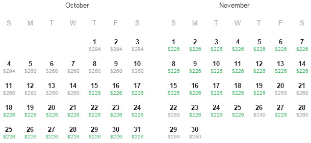 Flight Availability: Dallas to Mexico City as of 2:00 PM on 7/31/15.
