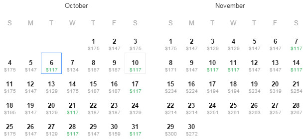 Flight Availability: Dallas to San Diego as of 1:58 PM on 8/12/15.