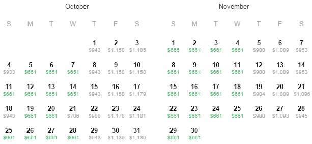 Flight Availability: Dallas to Copenhagen as of 2:10 PM on 8/14/15.