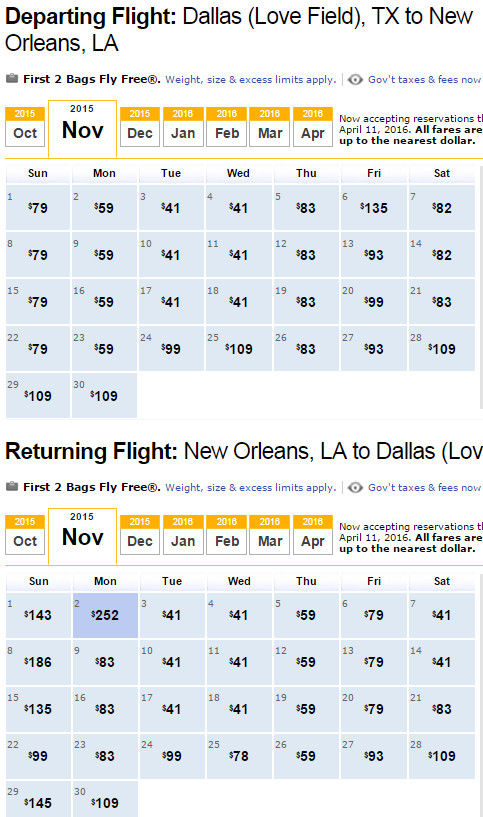 Flight Availability: Dallas to New Orleans as of 1:40 PM on 10/2/15.