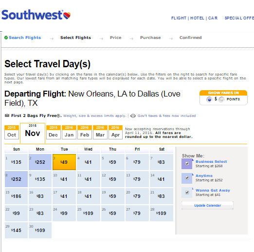 Flight Availability: New Orleans to Dallas as of 4:45 PM on 10/14/15.