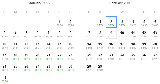 Flight Availability: Dallas to Managua as of 8:58 AM on 10/28/15.