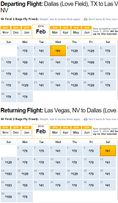 Flight Availability: Dallas to Las Vegas as of 2:58 PM on 11/15/15.