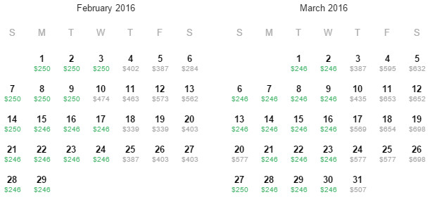 Flight Availability: Departing Dallas to Kailua-Kona as of 8:00 PM on 11/16/15.
