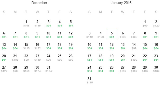 Flight Availability: Departing Dallas to Portland as of 1:10 PM on 11/25/15.