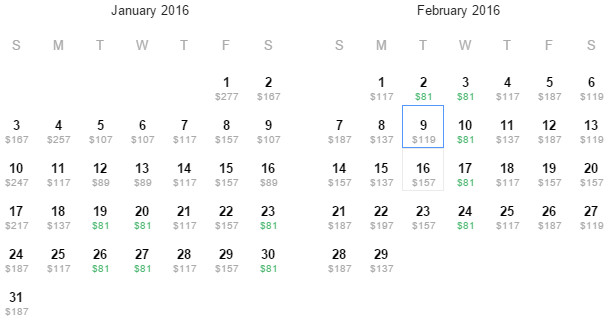Flight Availability: Dallas to Cleveland as of 2:33 PM on 12/29/15.