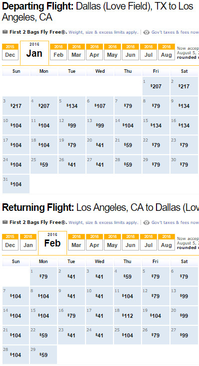 Southwest Flight Availability: Dallas to Los Angeles as of 2:00 PM on 12/12/15.