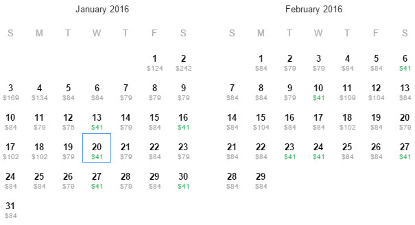 Flight Availability: Returning to Dallas from Los Angeles as of 2:00 PM on 12/12/15.