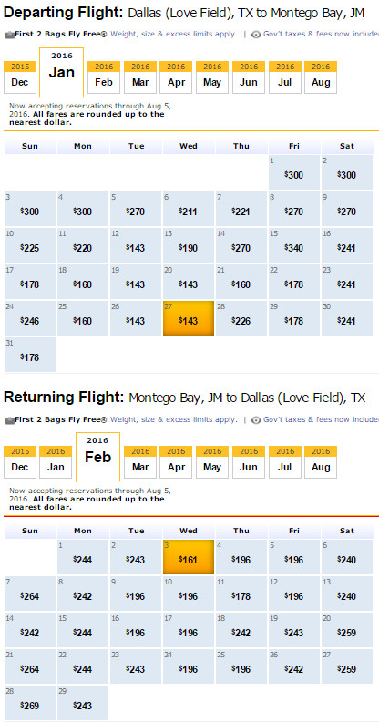 Flight Availability: Dallas to Montego Bay as of 2:31 PM on 12/22/15.
