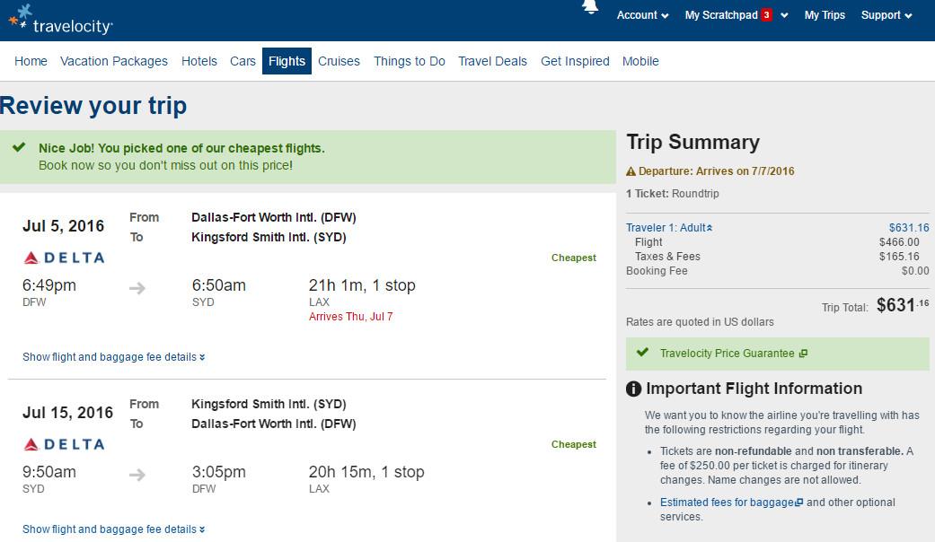 dfw syd schedule to flight