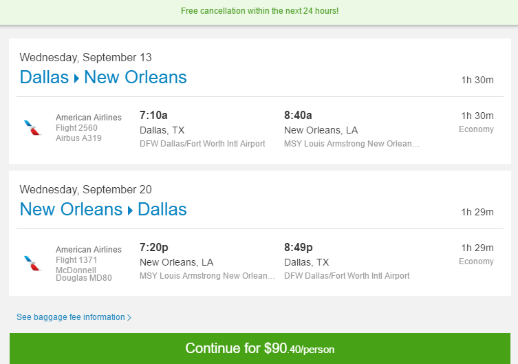 Nonstop Flights Dallas To From New Orleans 90 R T American