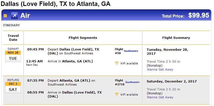 Nonstop Flights Dallas To From Atlanta 100 R T Southwest