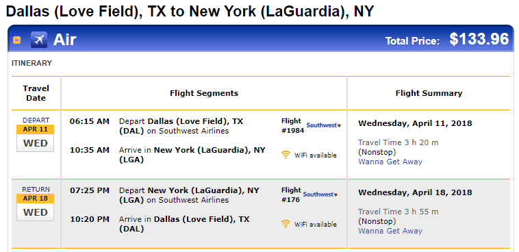 Nonstop Flights Dallas To From New York 134 140 R T