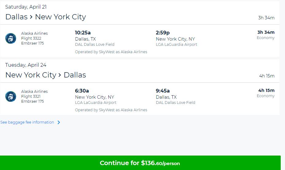 Nonstop Flights Dallas To From New York 137 R T Alaska