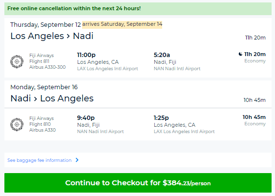 Nadi cheap flights lax to