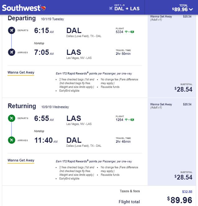 Nonstop Flights Dallas To From Las Vegas 90 R T Southwest